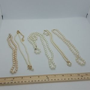 Faux pearl necklace lot